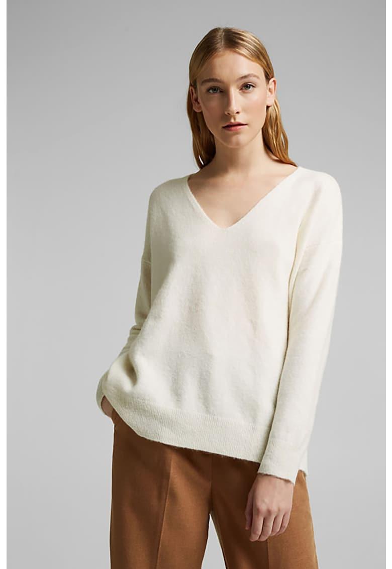 Pulover din amestec de lana - cu decolteu in V