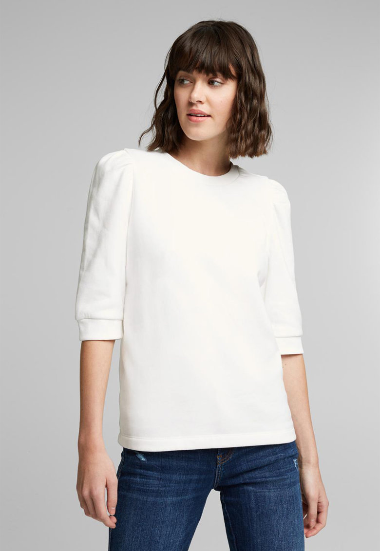 Bluza din amestec de bumbac organic cu maneci 3/4 imagine promotie