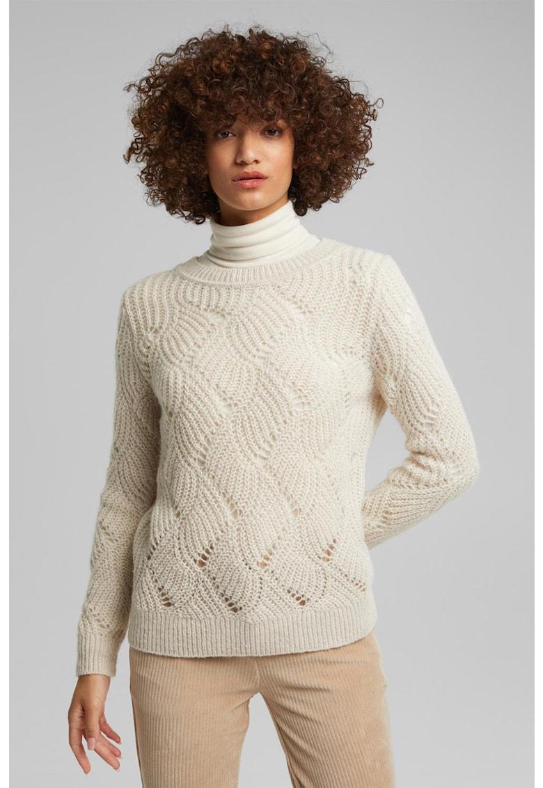 Pulover din amestec de lana cu perforatii de la Esprit
