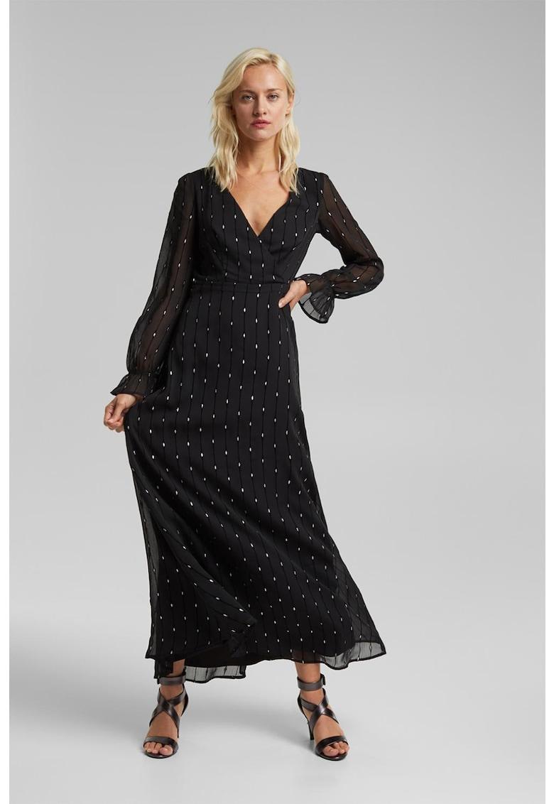 Rochie maxi cu imprimeu si decupaj pe partea din spate poza fashiondays