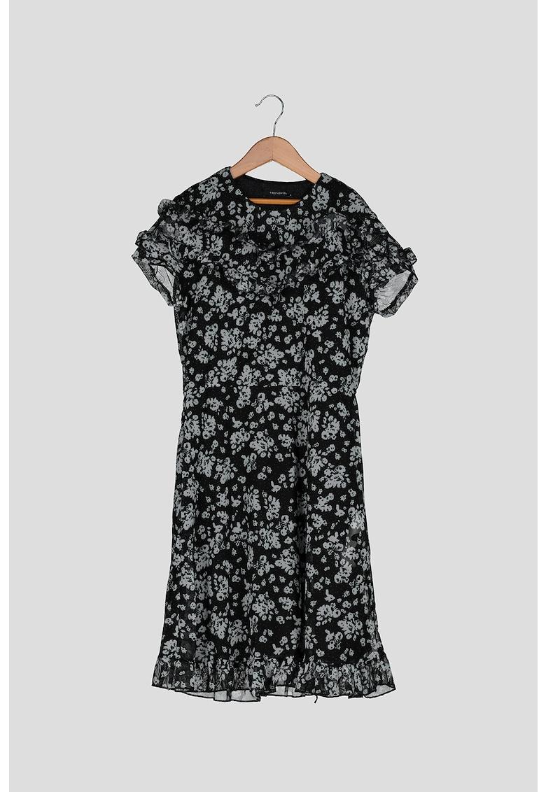 Rochie cu imprimeu floral si volane