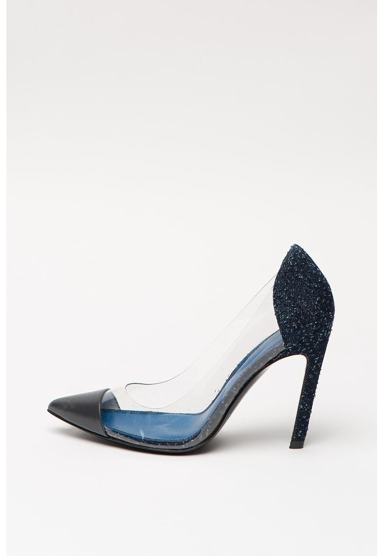 Pantofi cu toc inalt si detalii transparente Slanty