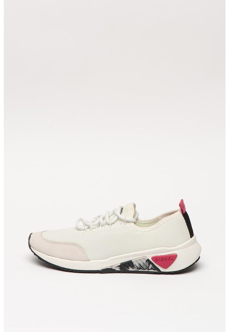 Pantofi sport din plasa cu insertii din piele intoarsa ecologica S-Kb