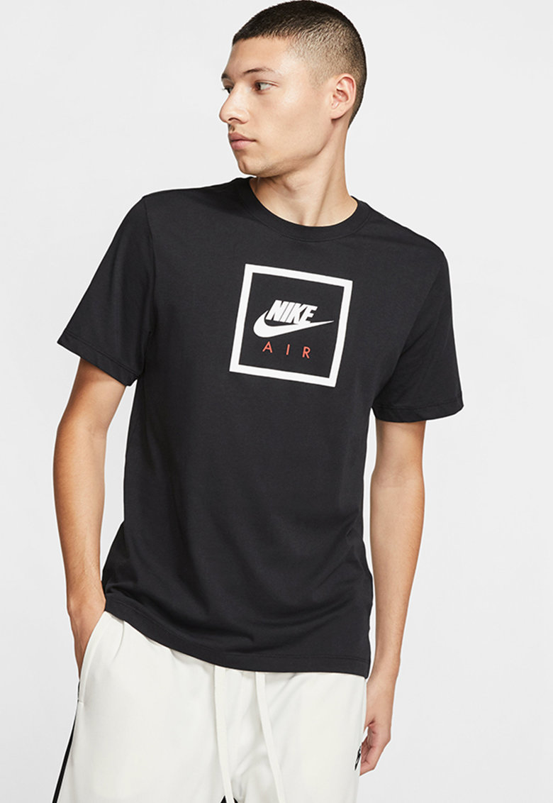 Tricou cu decolteu la baza gatului si imprimeu logo Sportswear