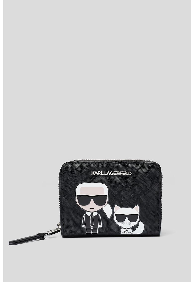 Portofel de piele ecologica - cu fermoar Ikonik de la Karl Lagerfeld