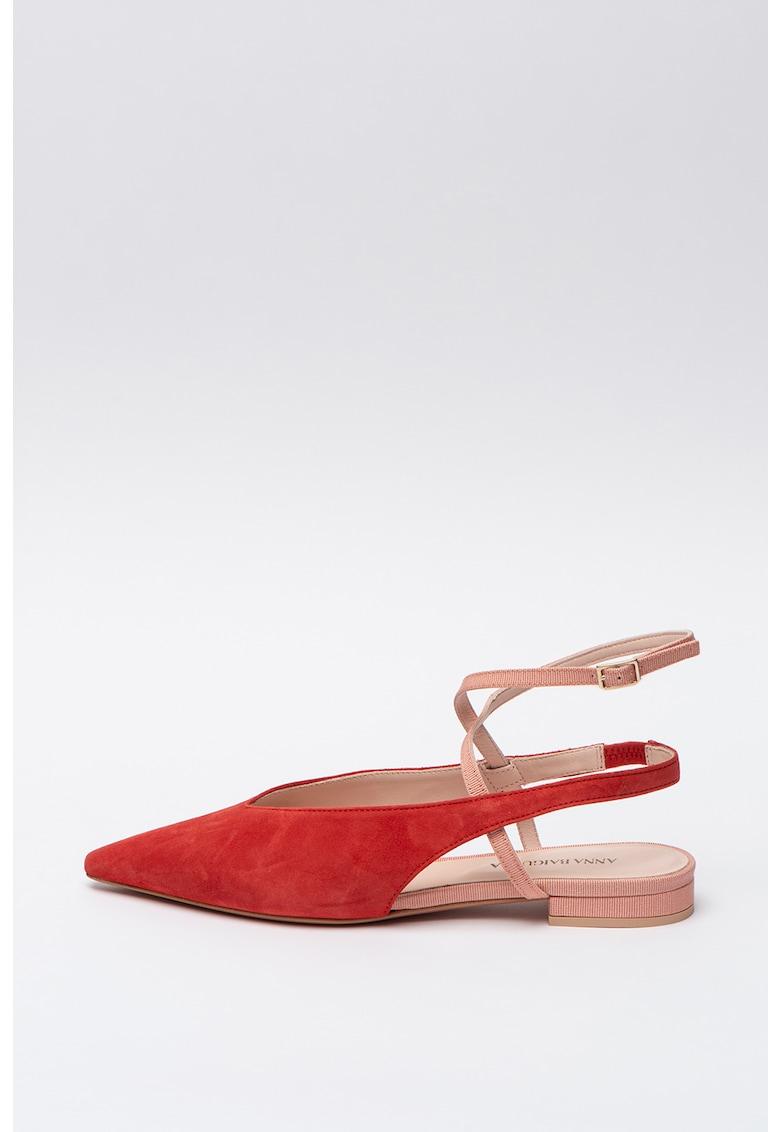 Pantofi slingback de piele si piele intoarsa Annadea