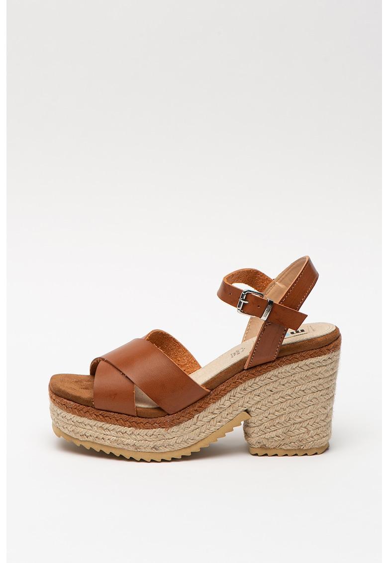 Sandale tip espadrile de piele ecologica