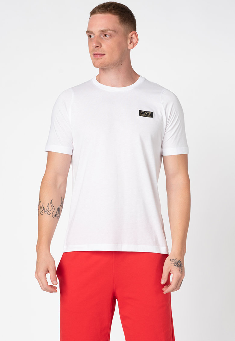 Tricou de bumbac cu detaliu logo