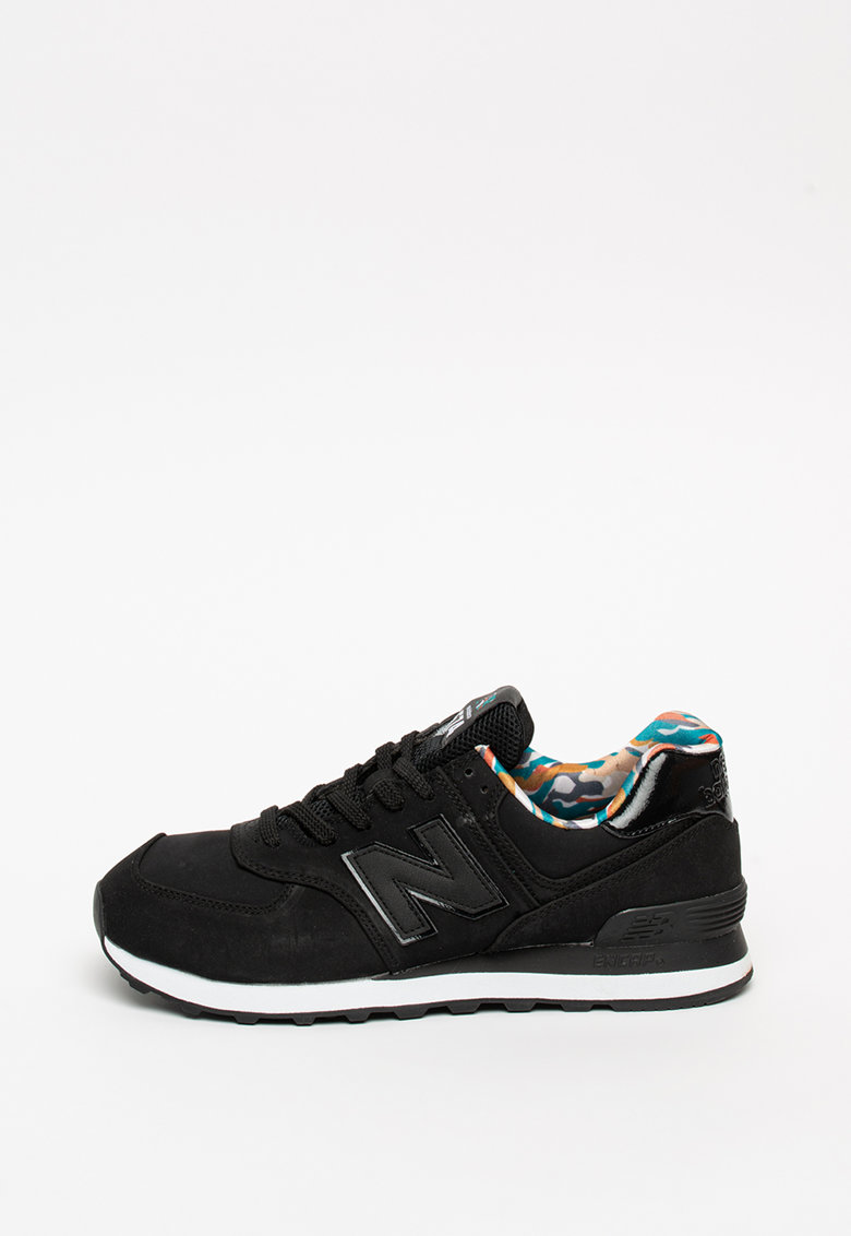 Pantofi sport de piele cu garnituri de plasa 574