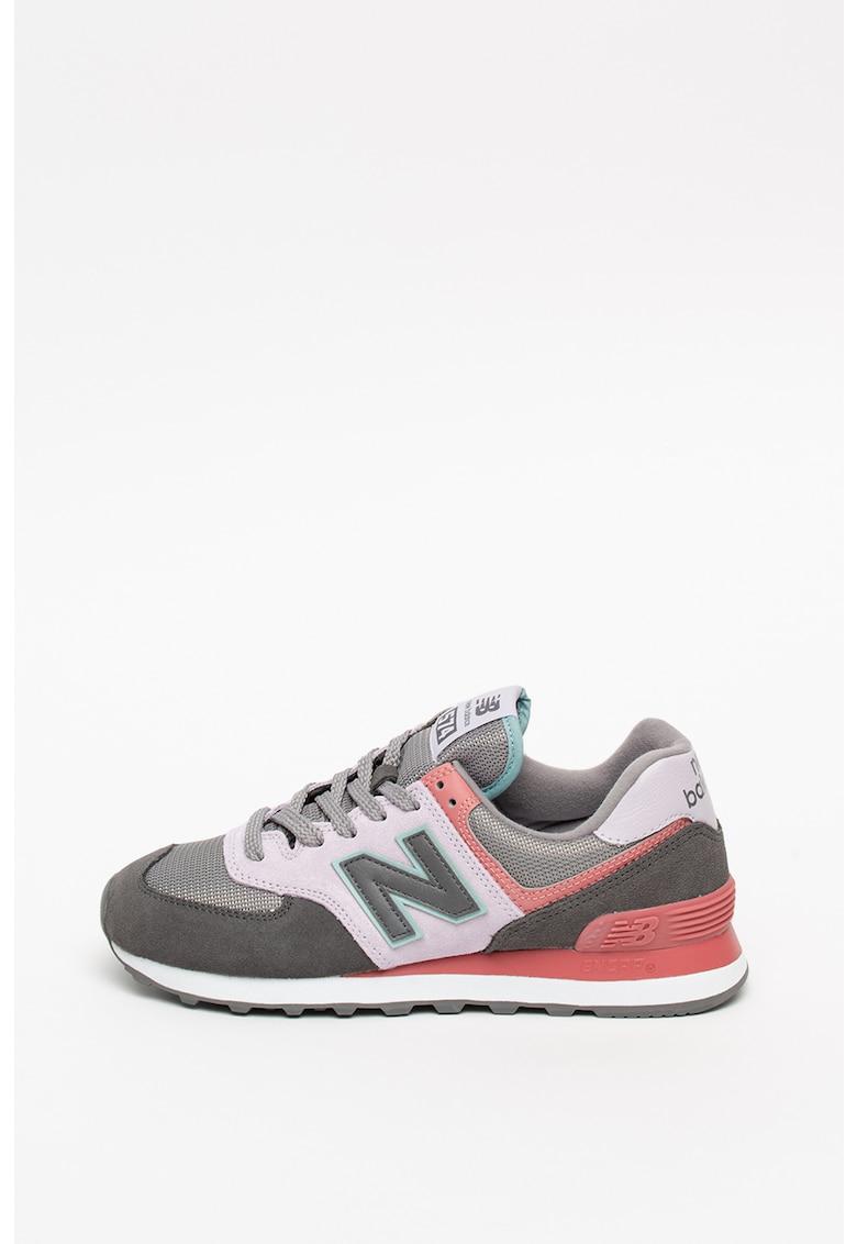 Pantofi sport colorblock cu garnituri de piele intoarsa 574