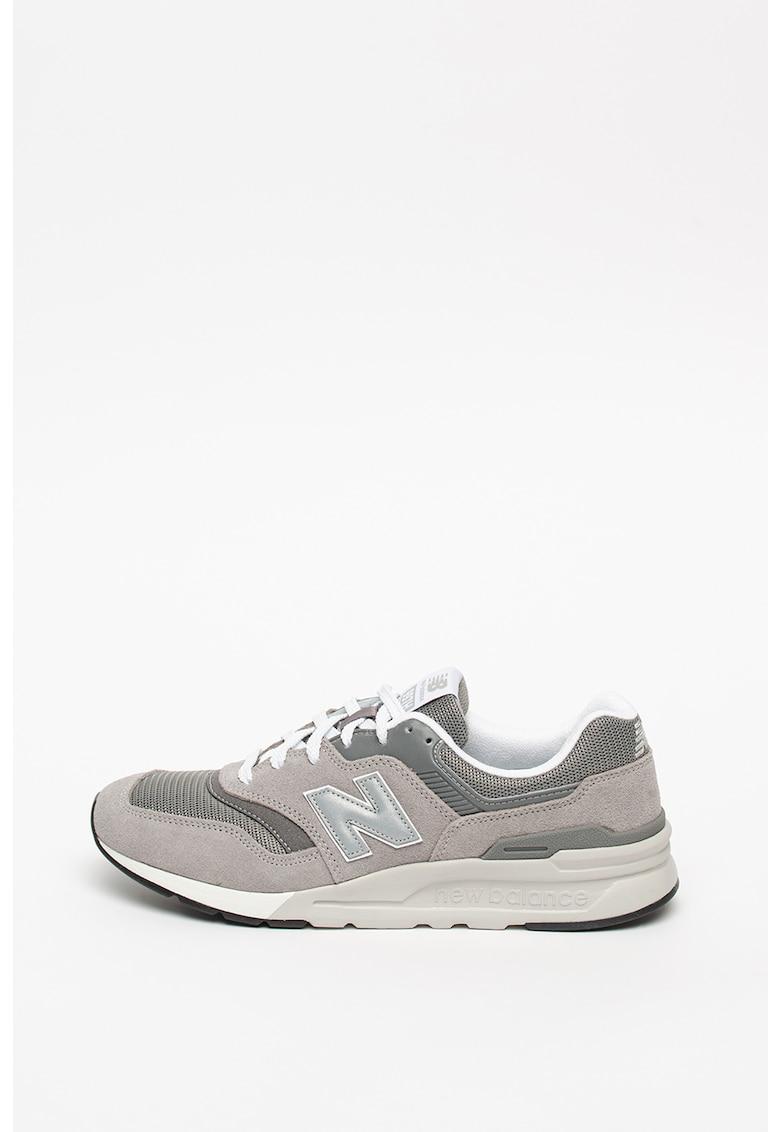 Pantofi sport de piele intoarsa cu garnituri de plasa 997H imagine