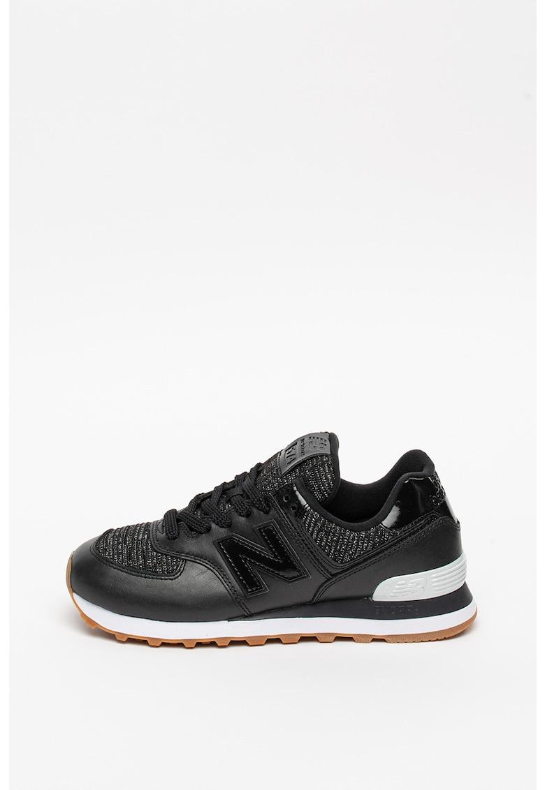 Pantofi sport de piele cu detalii stralucitoare 574