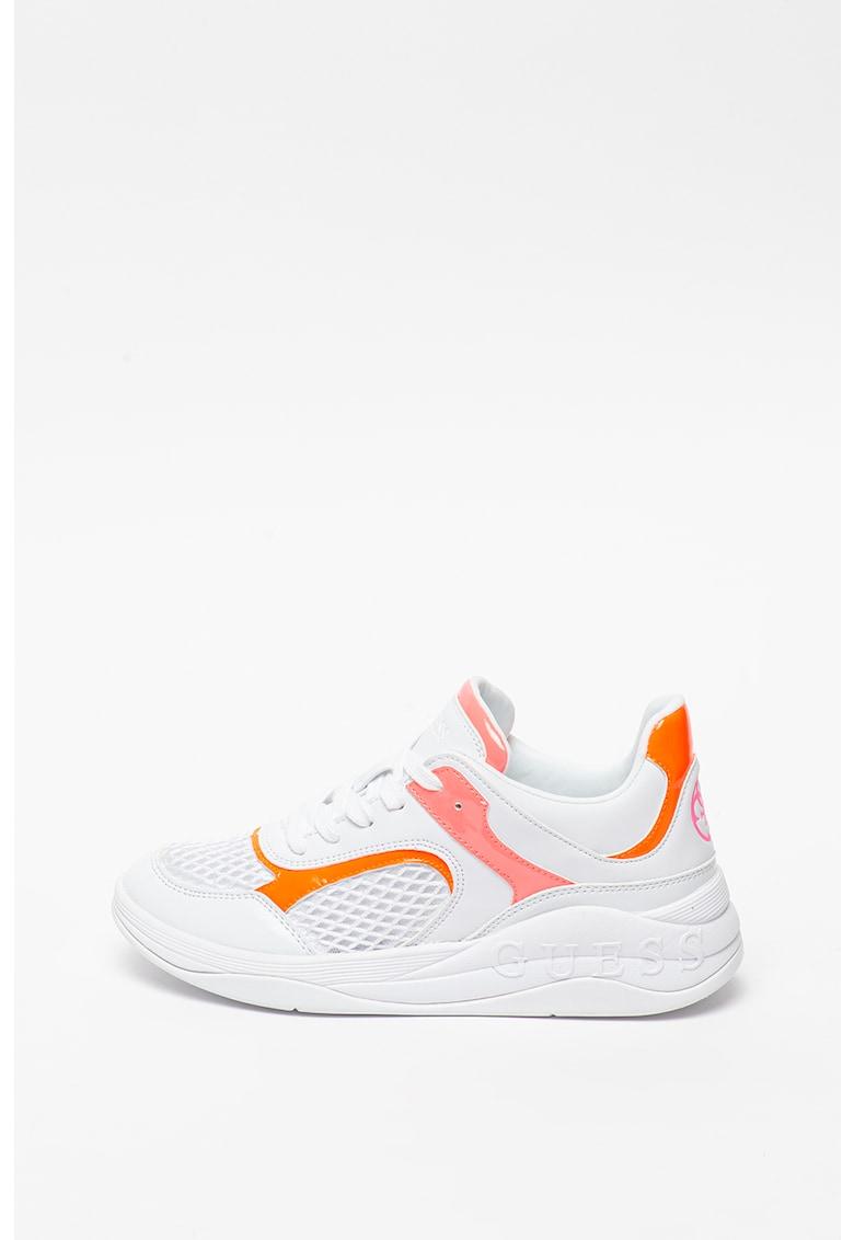 Pantofi sport de piele ecologica cu insertii de plasa 1