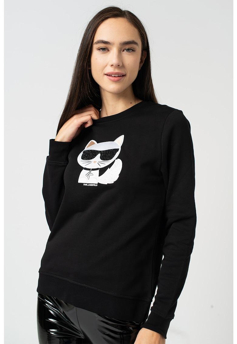 Bluza sport cu decolteu la baza gatului si logo brodat Ikonik