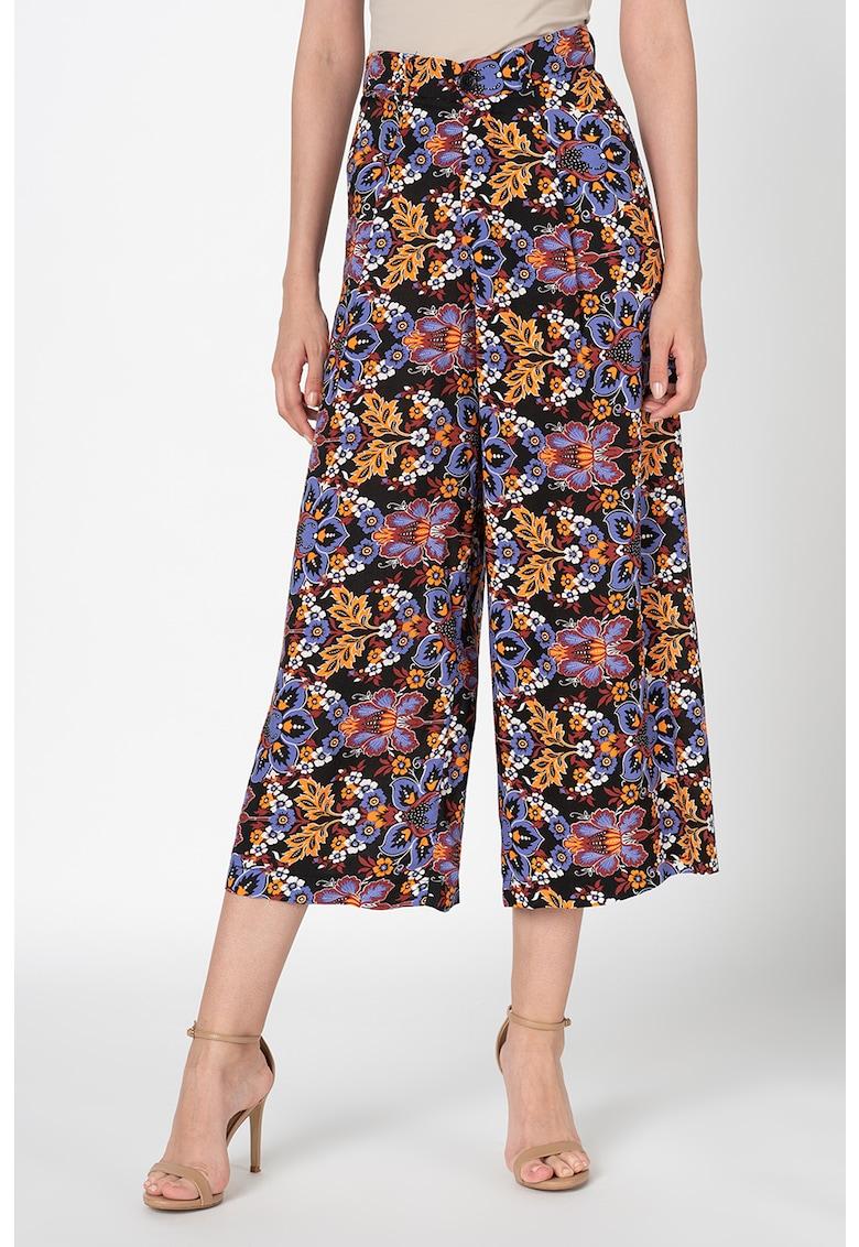 Pantaloni culotte cu talie inalta si model floral imagine fashiondays.ro