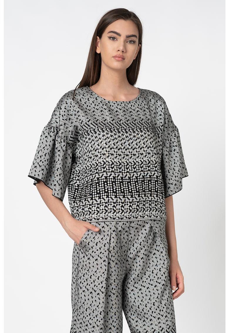 Bluza cu maneci medii si imprimeu geometric imagine