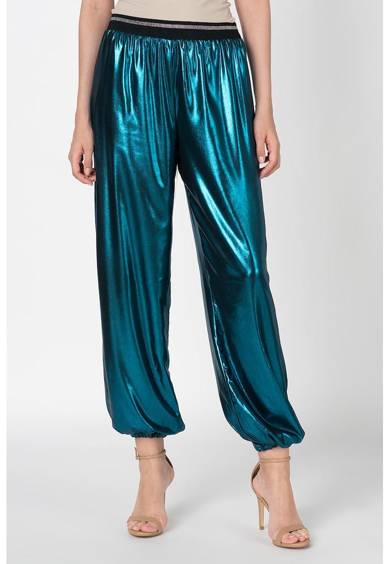 Pantaloni harem cu aspect metalic imagine