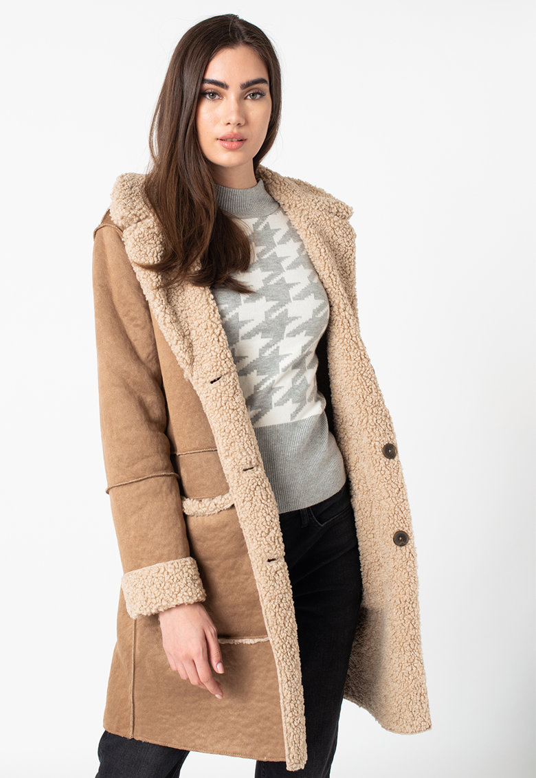 Palton reversibil de blana shearling sintetica de la Tom Tailor