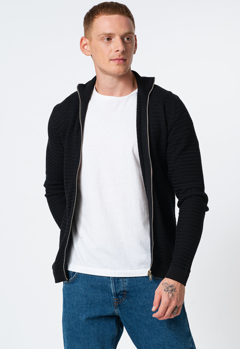 Cardigan tricotat cu fermoar poza fashiondays