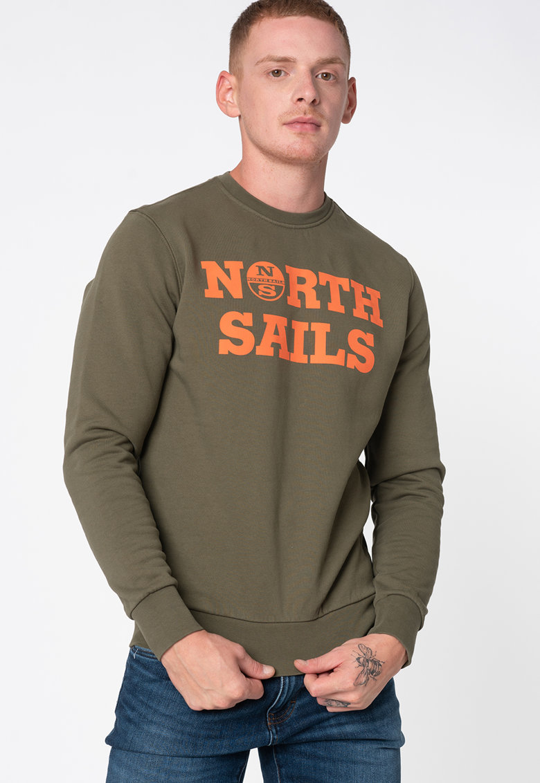 Bluza sport de bumbac organic cu imprimeu logo