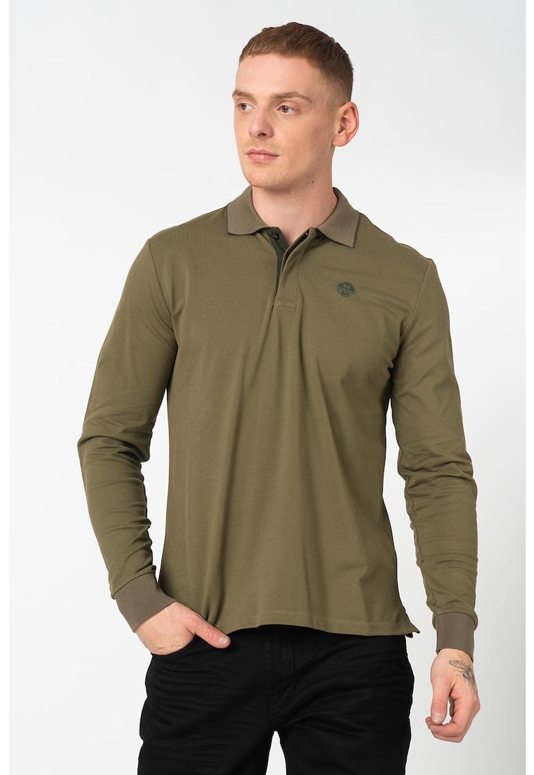 Bluza polo din material pique cu mansete striate