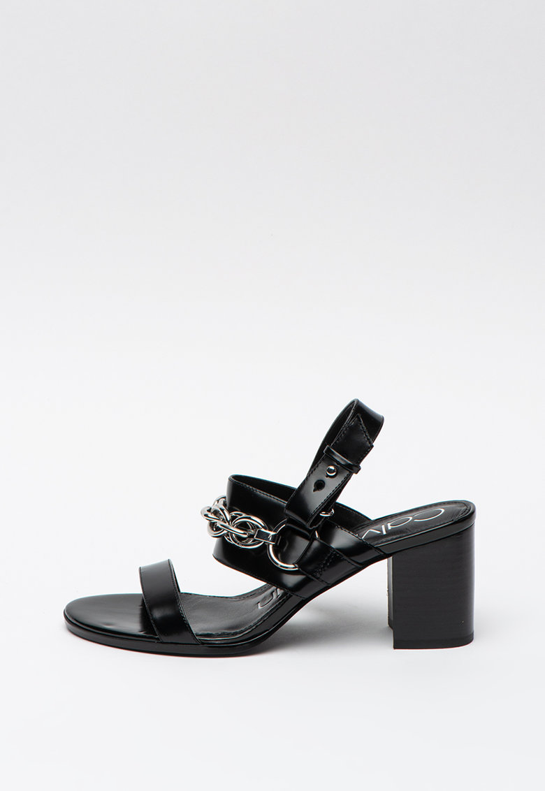 Sandale de piele - cu detaliu din lant Casey