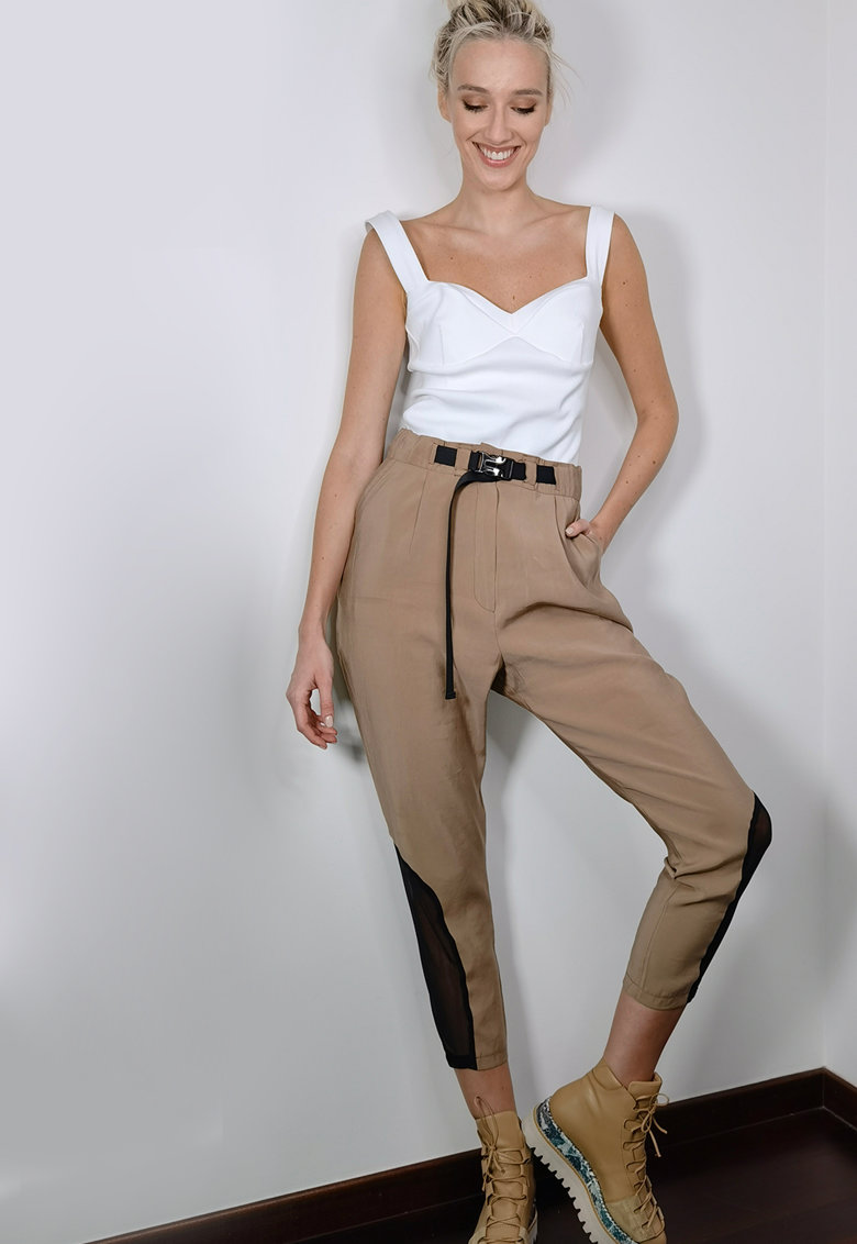Pantaloni cu talie inalta si garnituri de plasa