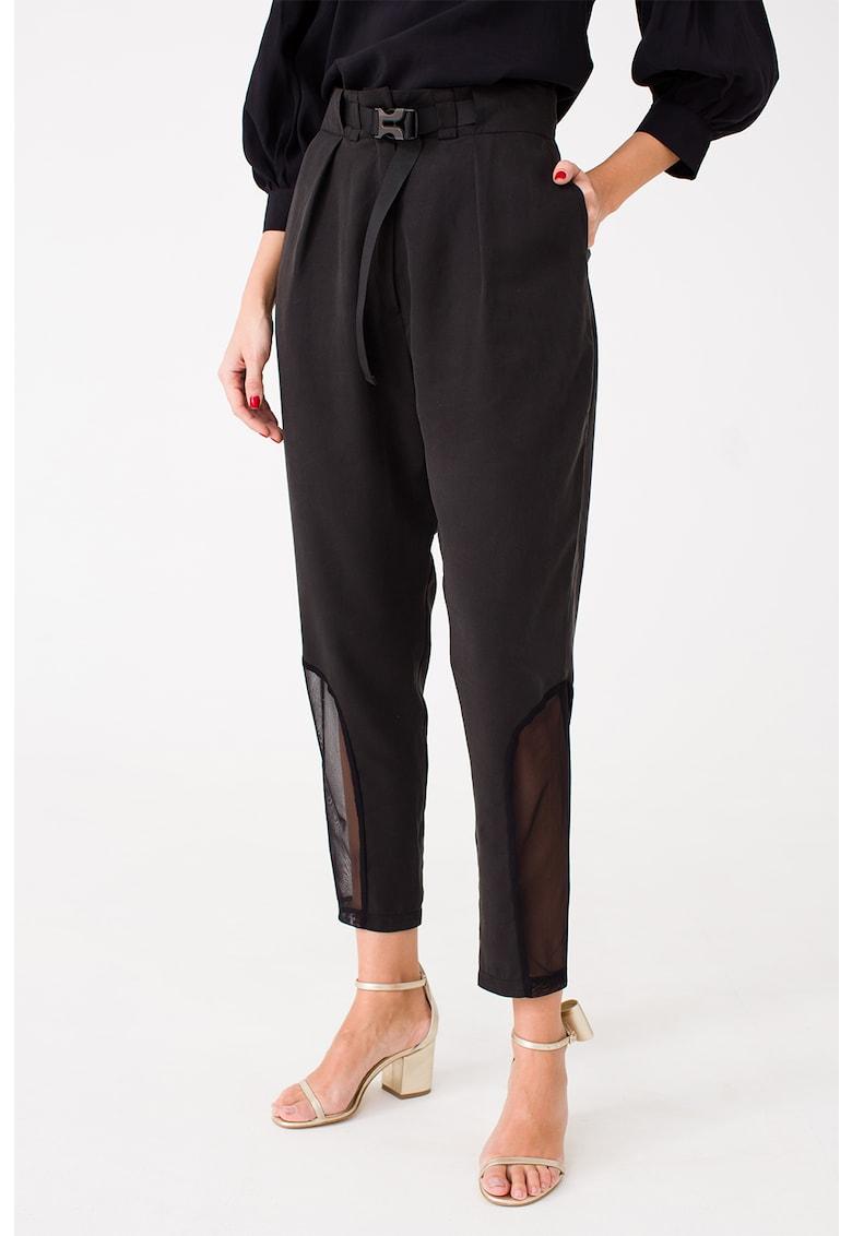 Pantaloni cu talie inalta si garnituri de plasa LIN-APPAREL imagine 2021