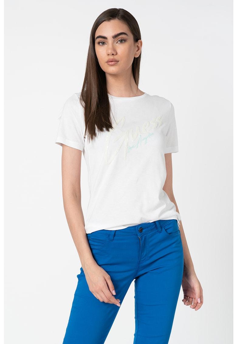 Tricou din amestec de modal - cu logo cu paiete