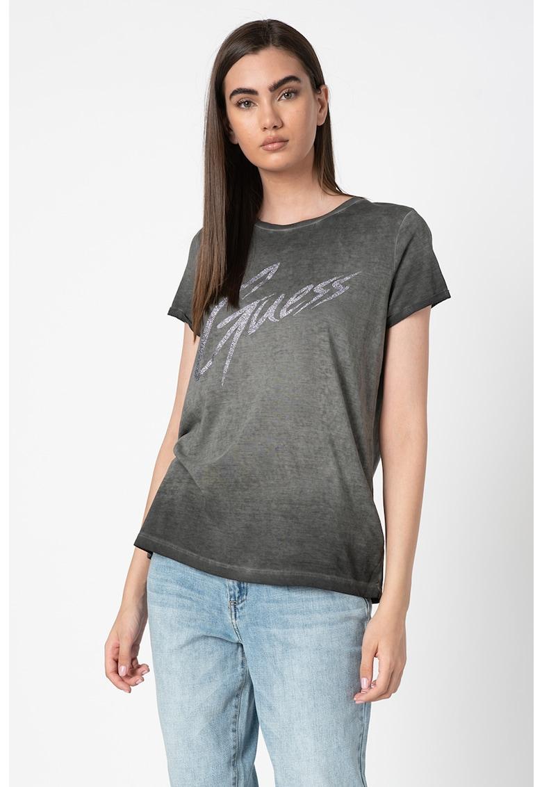 Tricou din amestec de modal - cu logo stralucitor