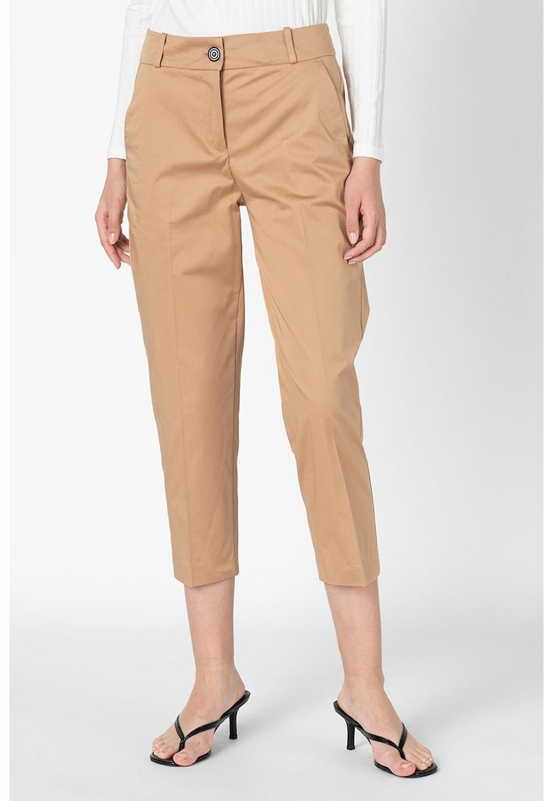 Pantaloni trei sferturi cu talie inalta poza fashiondays