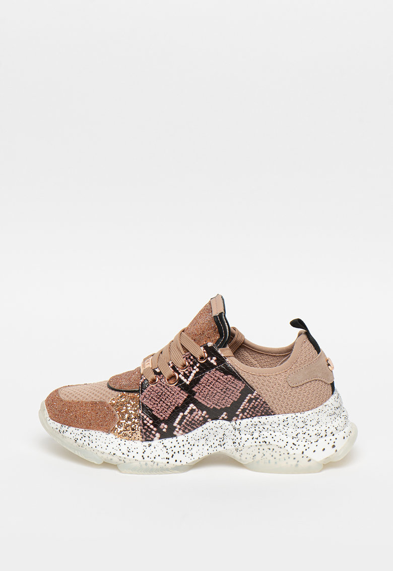 Pantofi sport stralucitori cu detalii cu imprimeu piele de sarpe