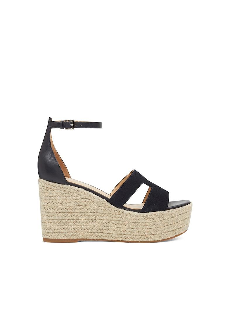 Sandale wedge tip espadrile din piele Adelyn