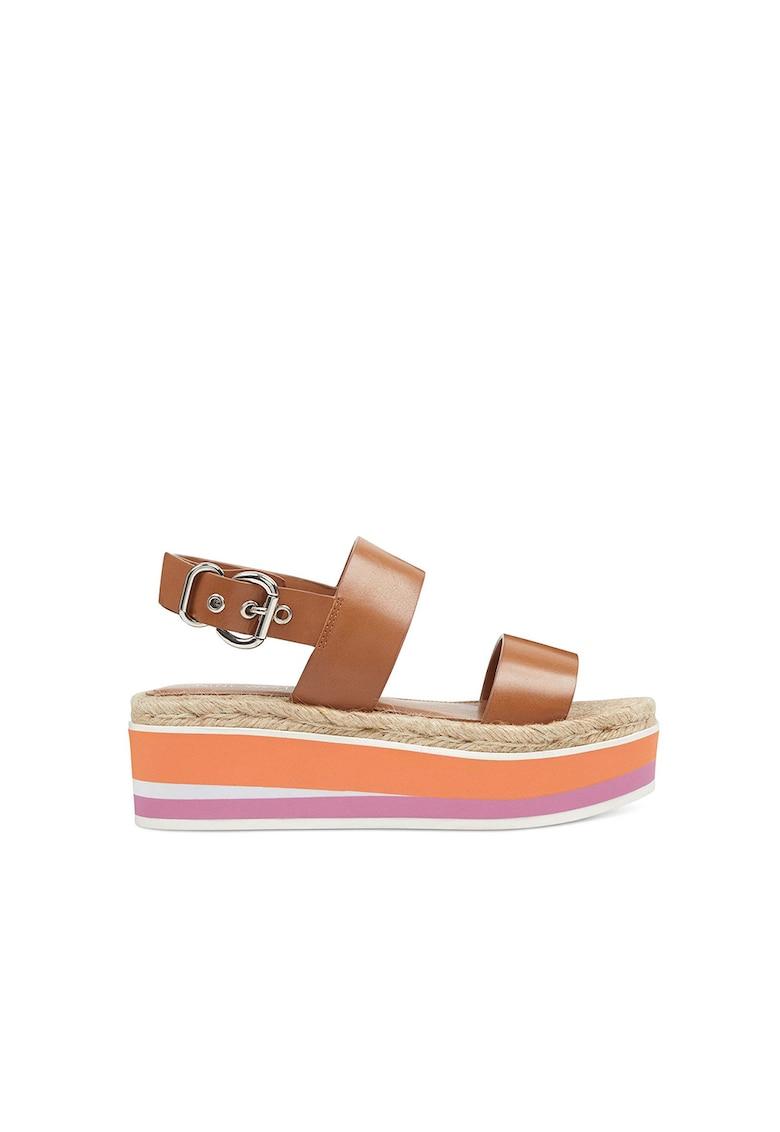 Sandale wedge tip espadrile din piele Athena