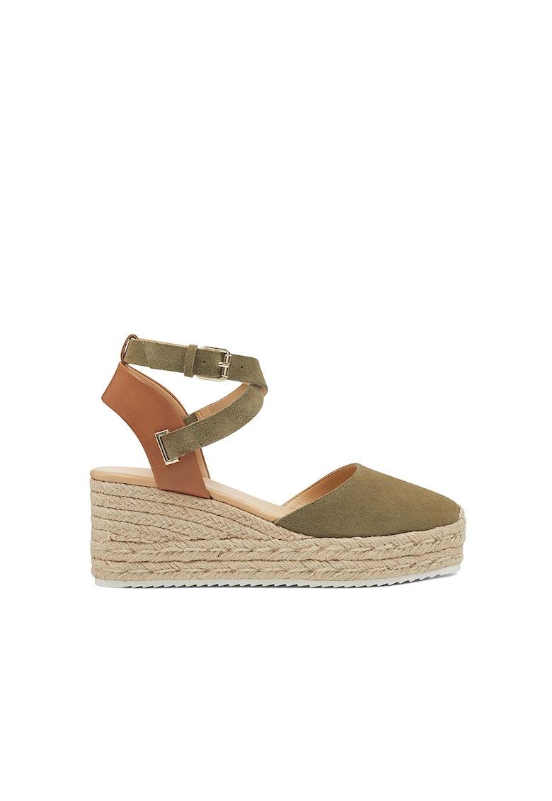 Sandale wedge tip espadrile de piele intoarsa Ava