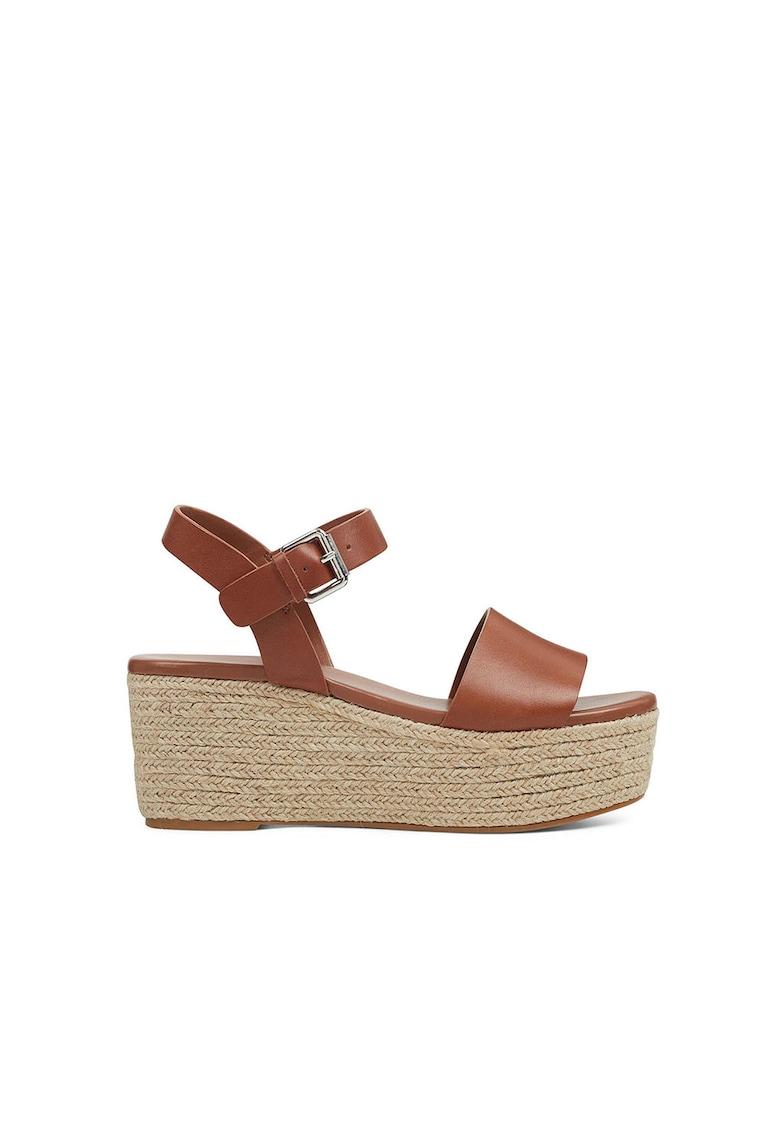 Sandale wedge tip espadrile din piele Emerson