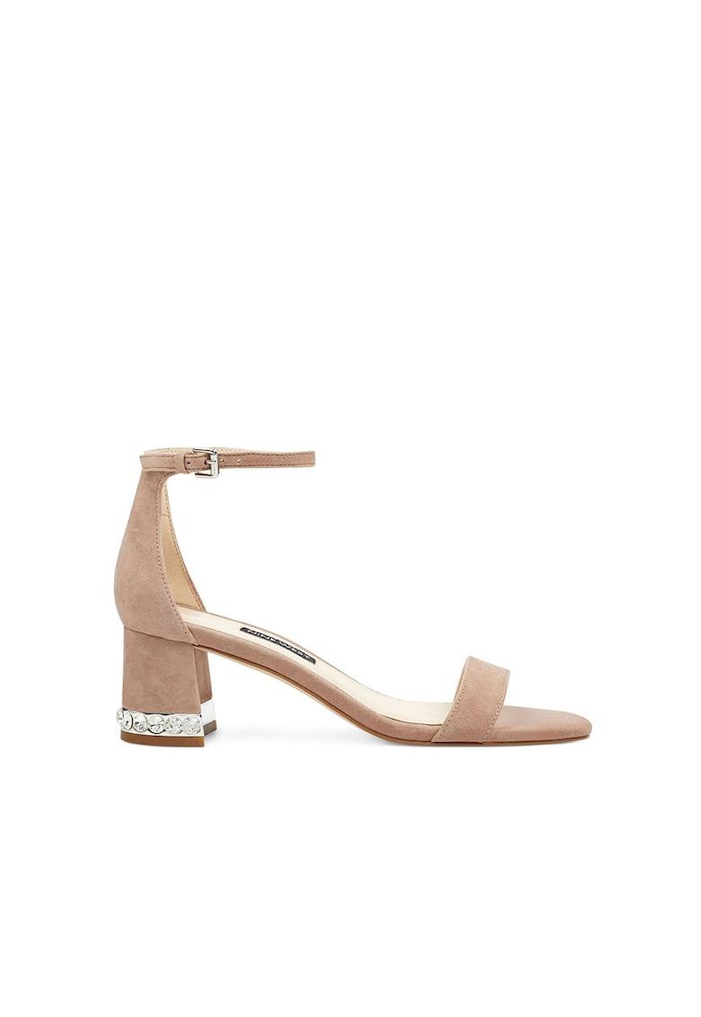 Sandale de piele intoarsa cu toc masiv Hazelnw fashiondays.ro