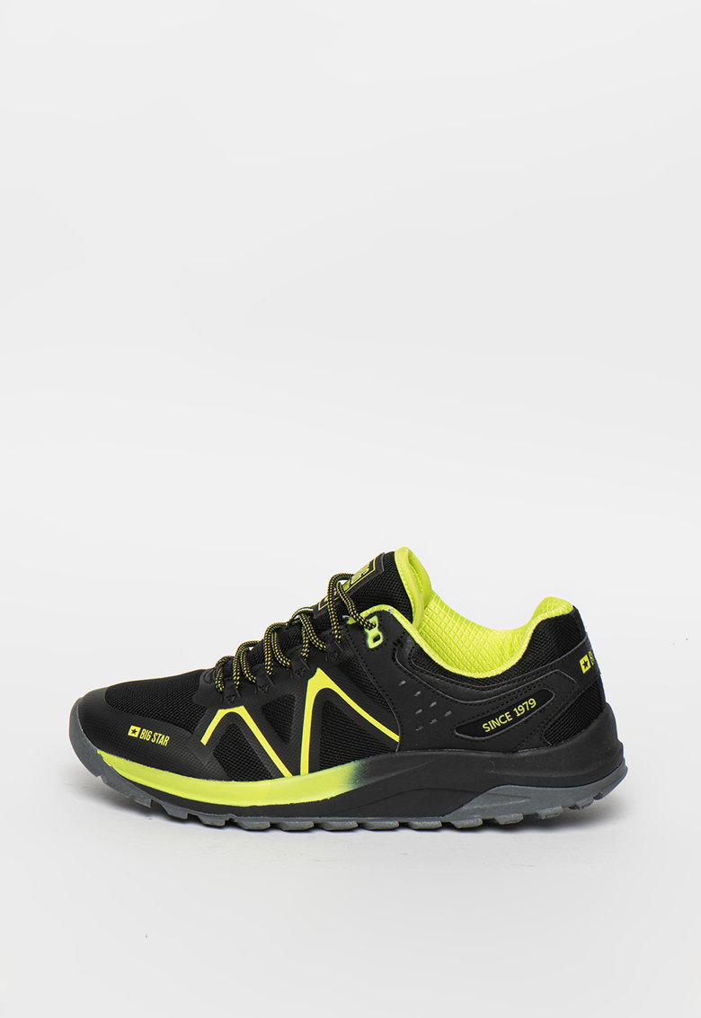 Pantofi sport de plasa cu model contrastant si garnituri sintetice