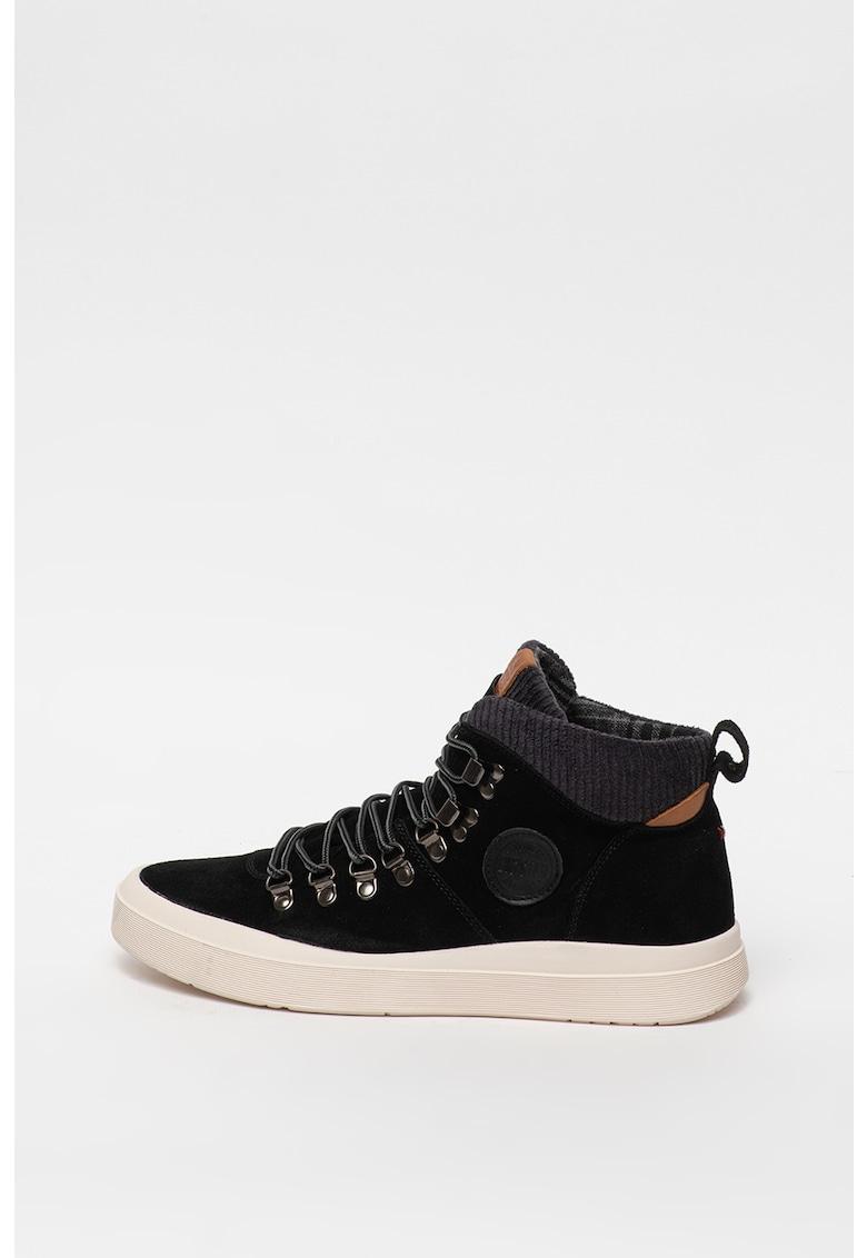 Pantofi sport de piele intoarsa cu insertii de material textil