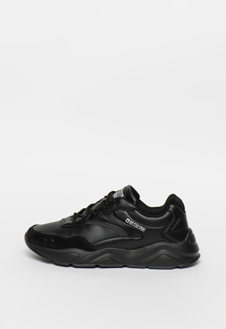 Pantofi sport de piele ecologica cu detalii logo imagine