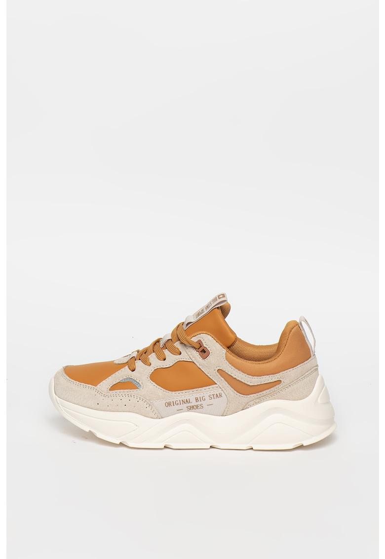 Pantofi sport de piele ecologica si piele intoarsa cu garnituri de plasa