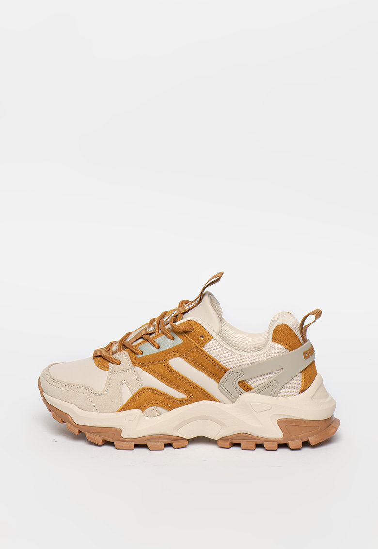 Pantofi sport de piele ecologica cu garnituri de piele intoarsa si plasa