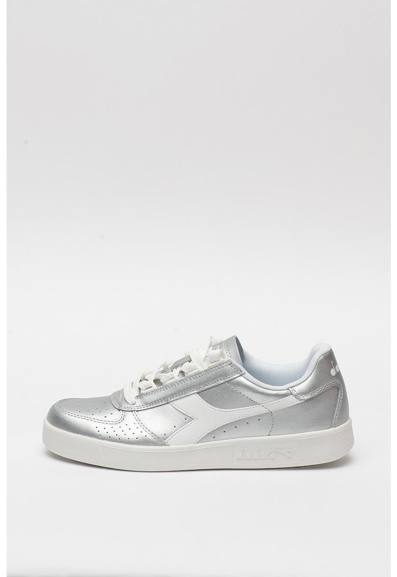 Pantofi sport cu aspect metalizat si insertii de piele Elite