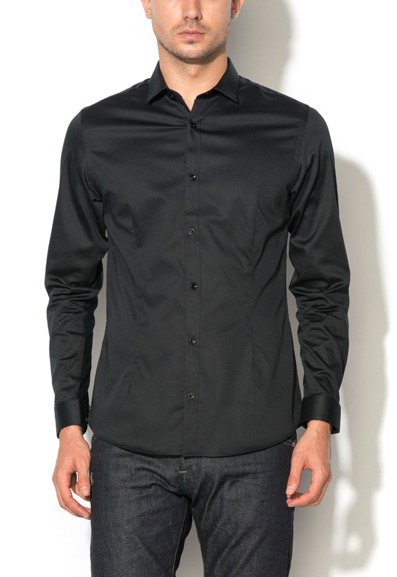 Camasa neagra super slim fit Parma