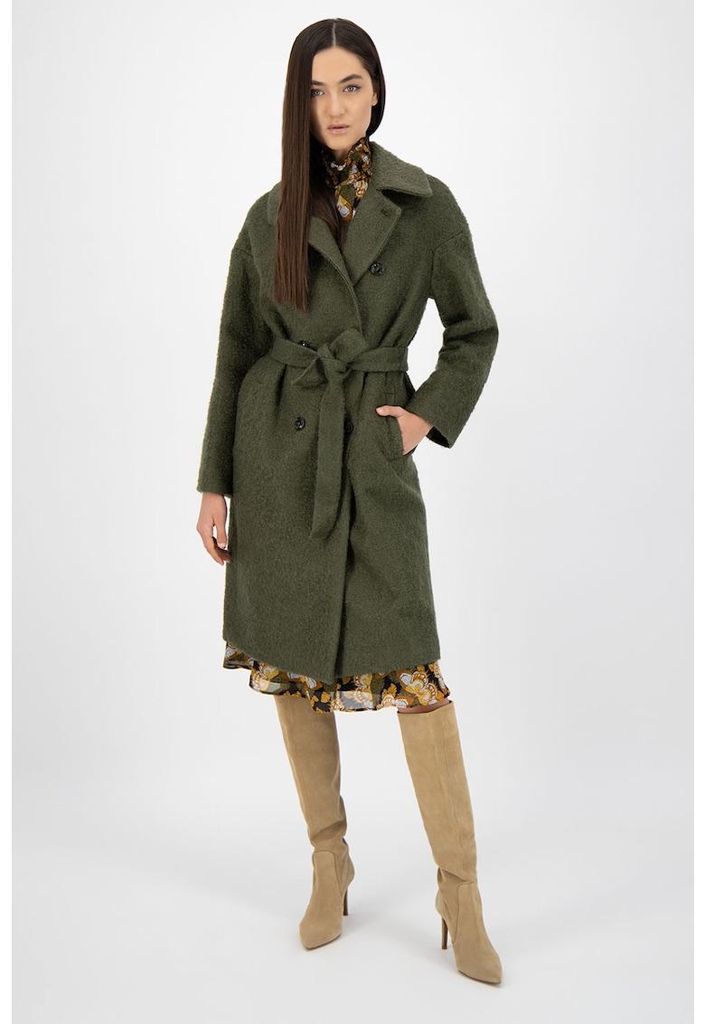 Palton din amestec de lana virgina si mohair - cu un cordon