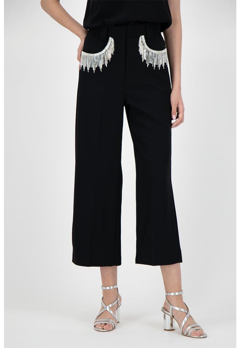 Pantaloni evazati cu franjuri cu strasuri