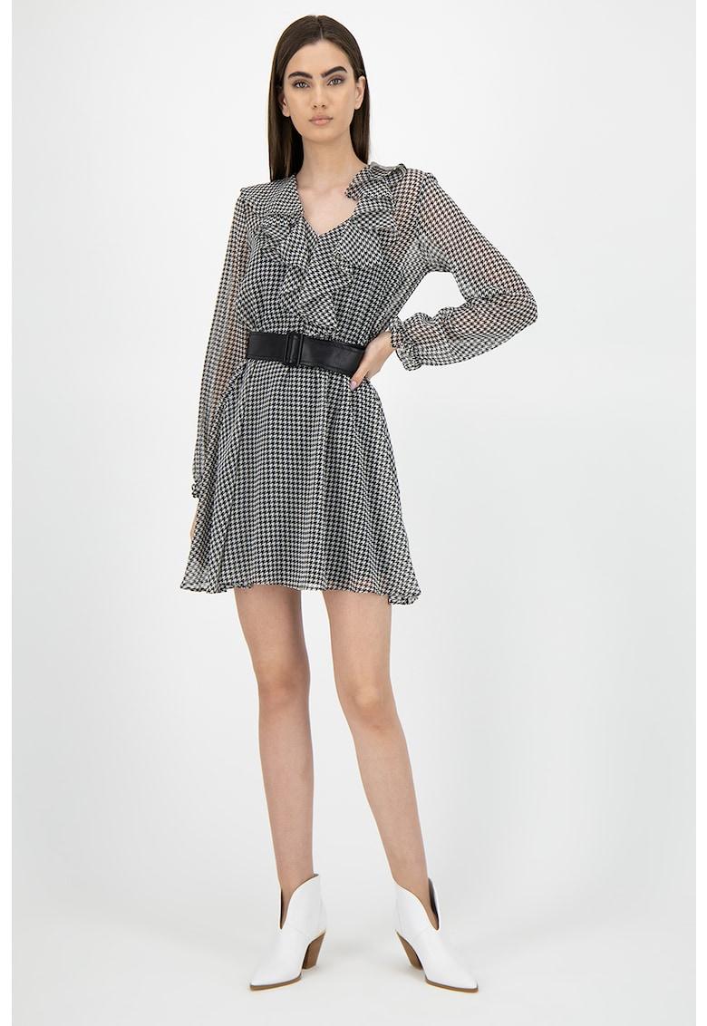 Rochie mini cu model houndstooth