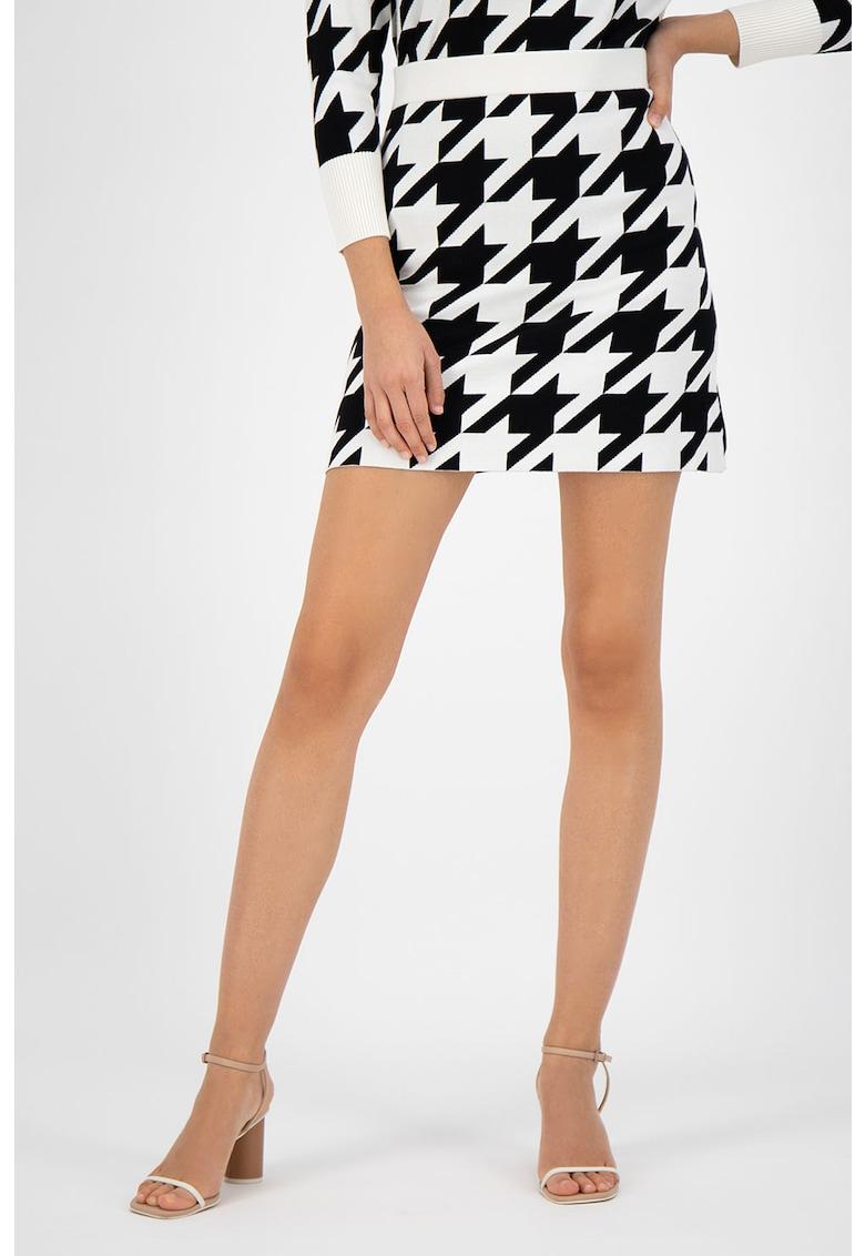 Fusta mini cu imprimeu houndstooth poza fashiondays