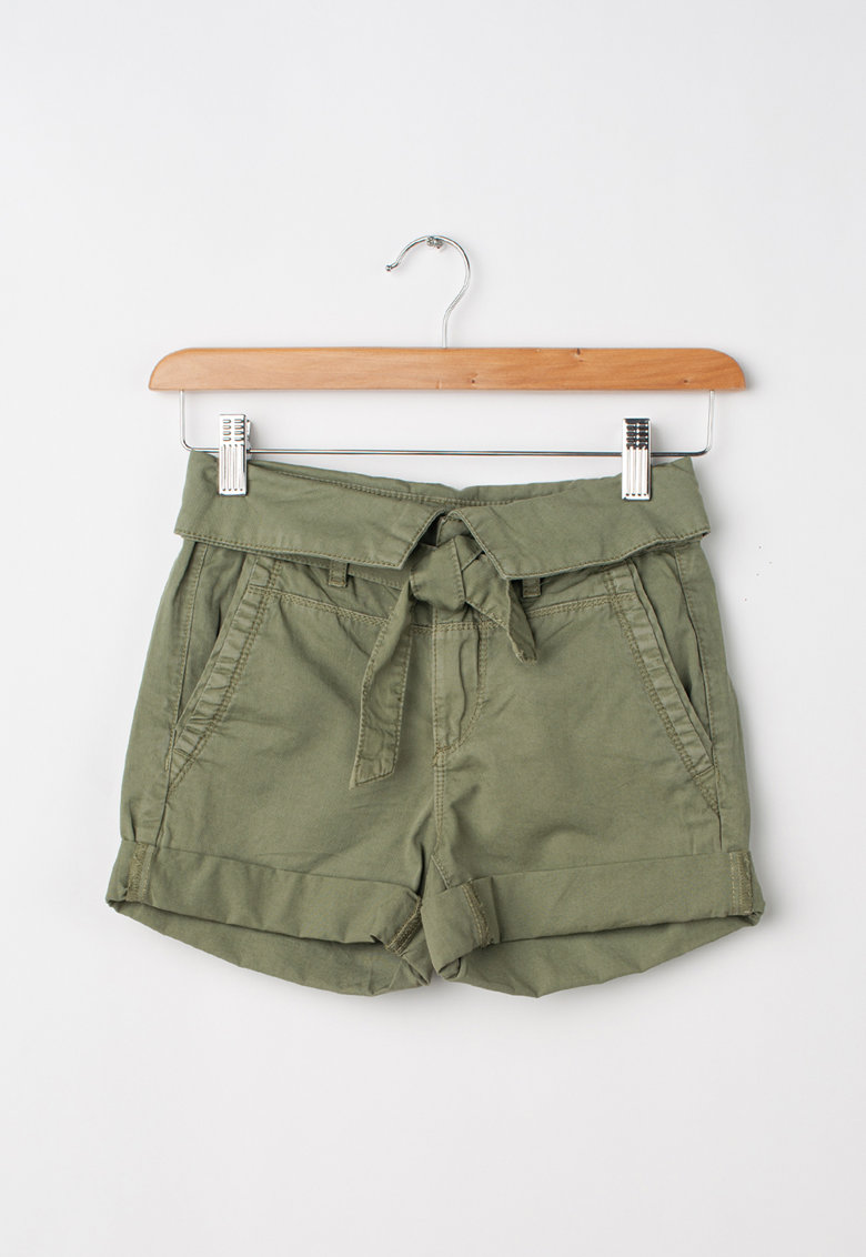 Pantaloni scurti din bumbac cu terminatii pliabile