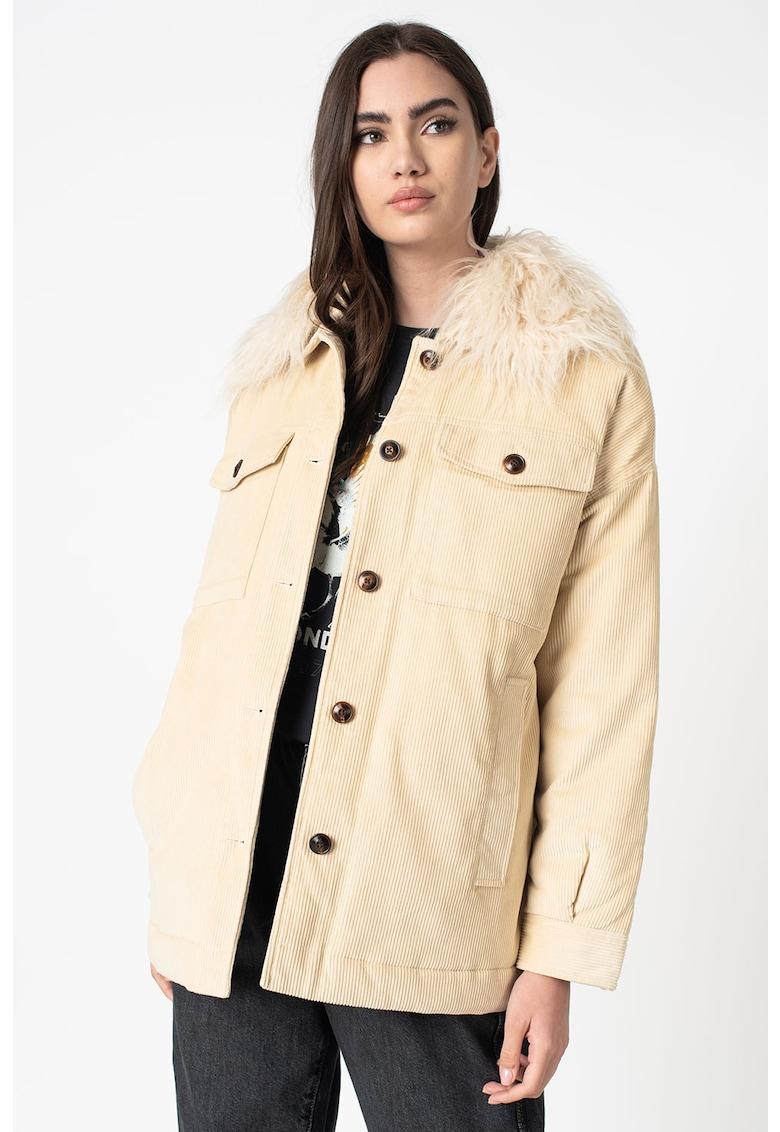 Jacheta din reiat cu detalii din blana sintetica Katy